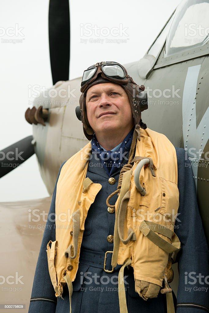 WW2 RAF Fighter Pilot stock photo