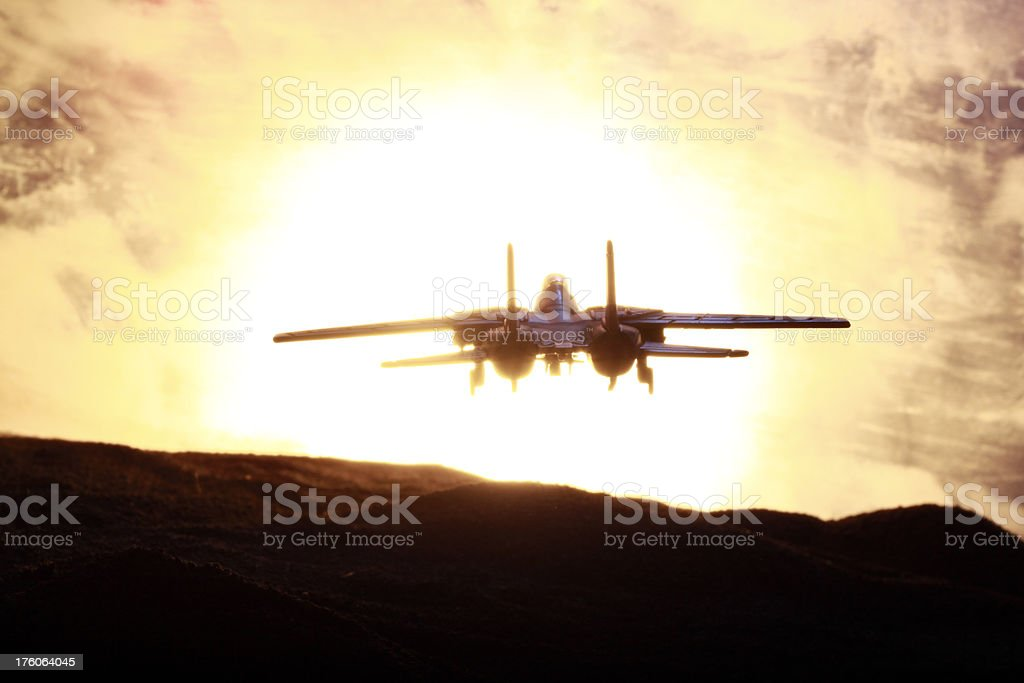 Fighter Plane and Sunset stock photo
