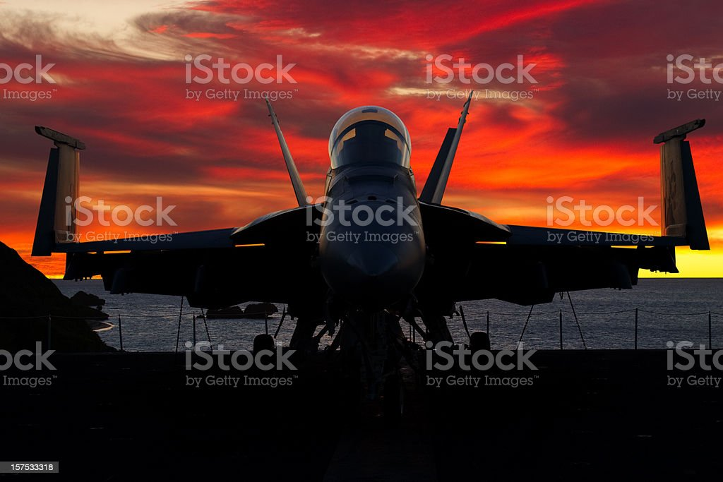 Fighter Plane at Sunset royalty-free stock photo