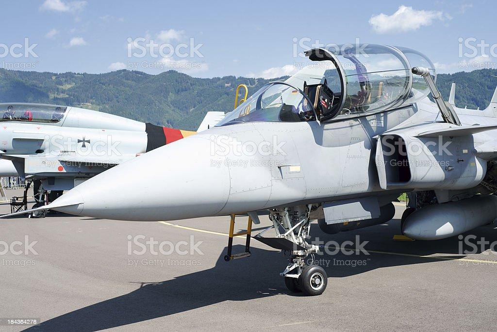 Fighter plane cockpit closeup stock photo