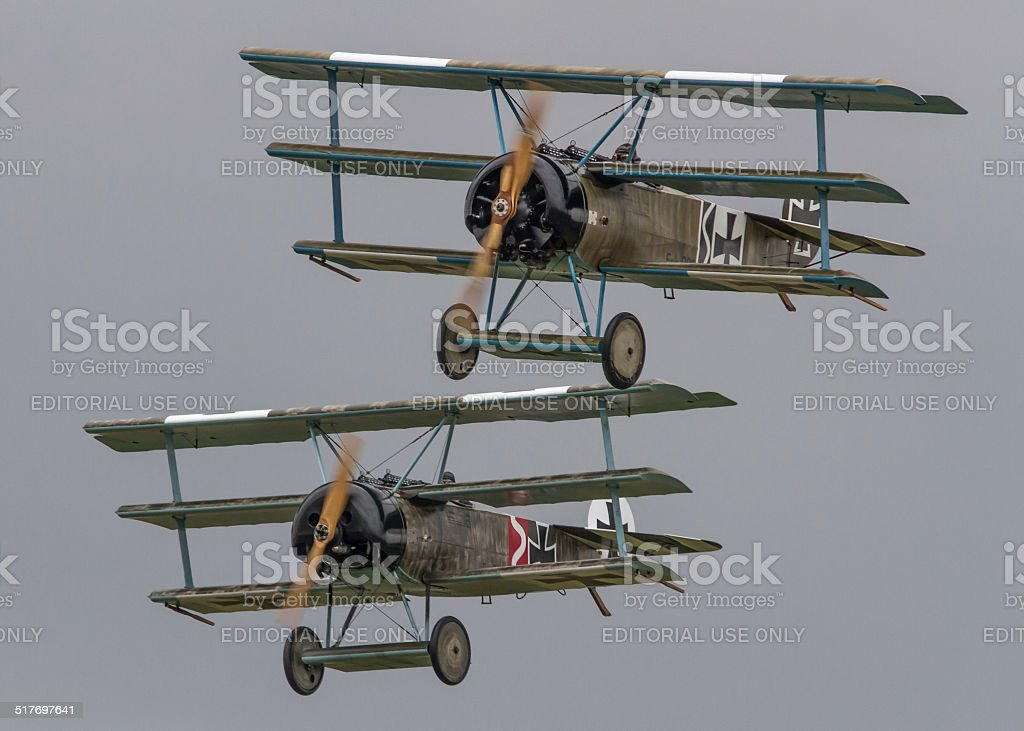WWI Fighter Plane - Fokker Dr1 Triplane stock photo