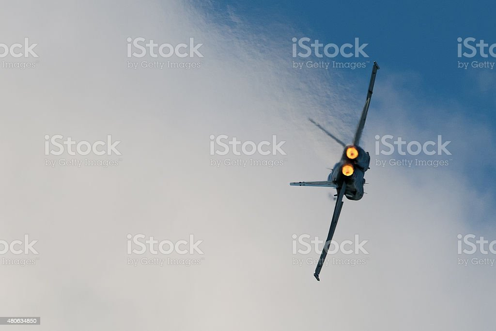 Fighter Plane In Afterburner stock photo