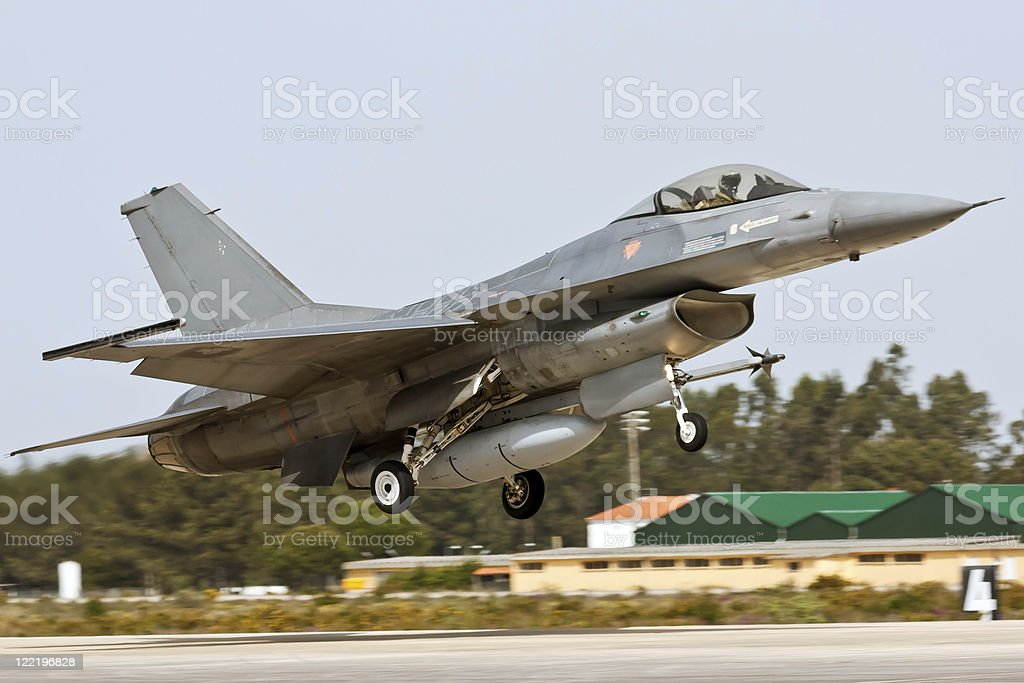 Fighter Plane Portuguese taking off. royalty-free stock photo