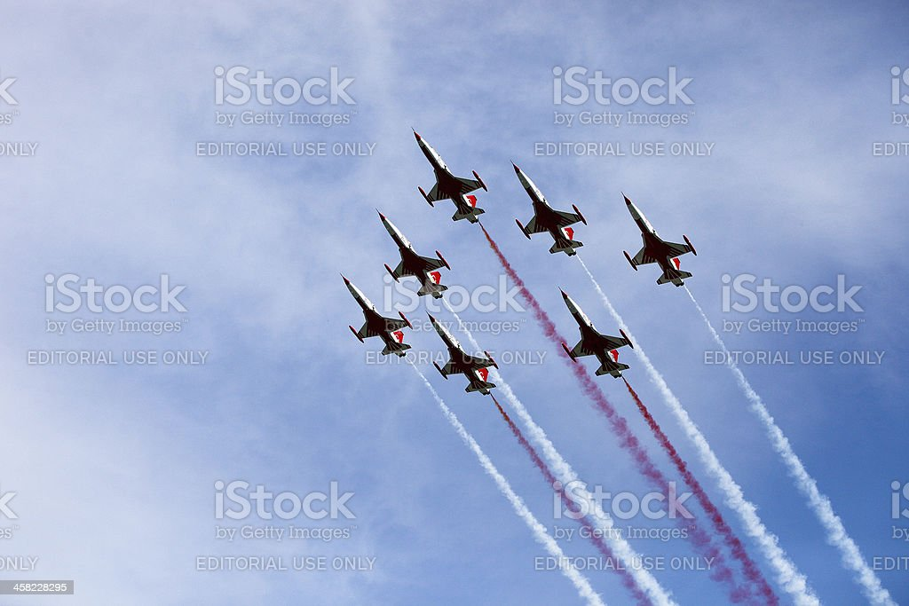 Fighter planes in airshow royalty-free stock photo