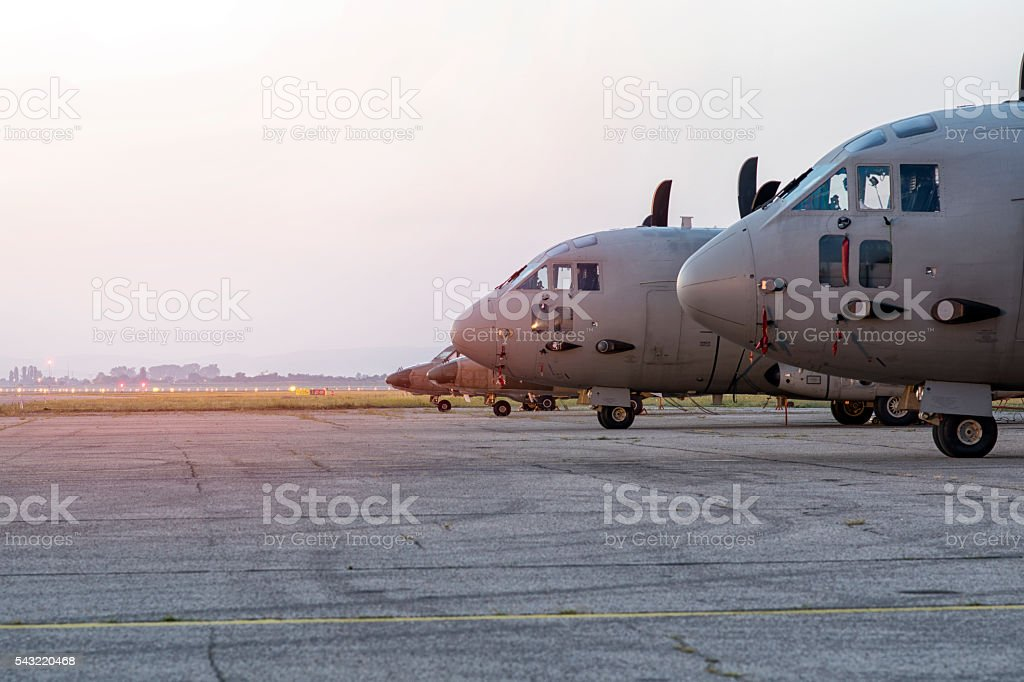 Fighter planes on land,ready to take off stock photo