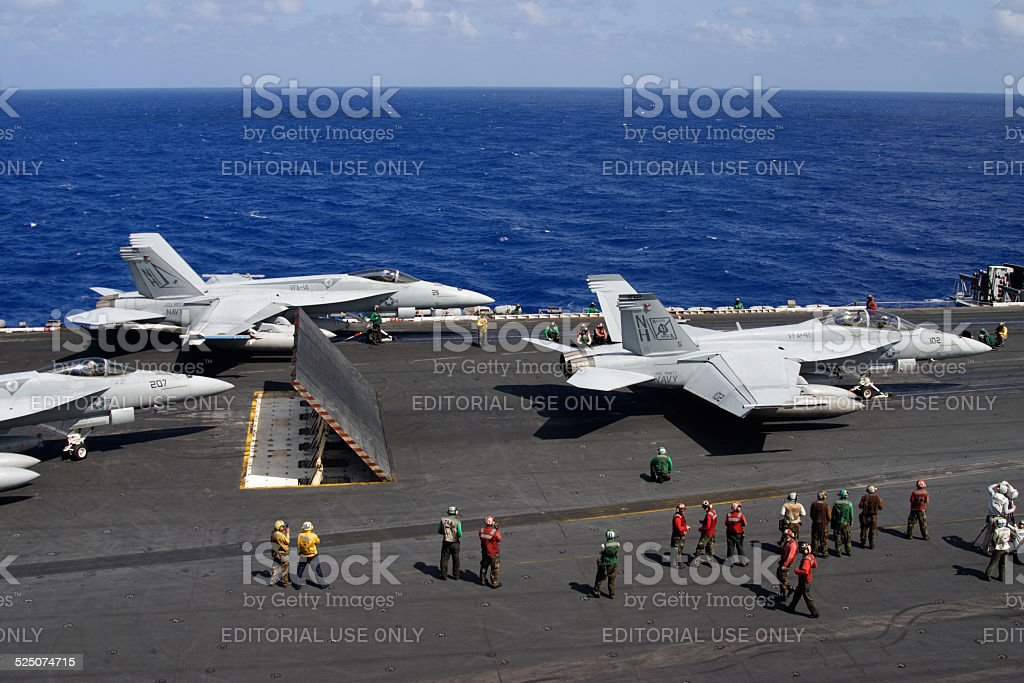 Fighter Planes preparing to launch from USS Nimitz Aircraft Carrier stock photo