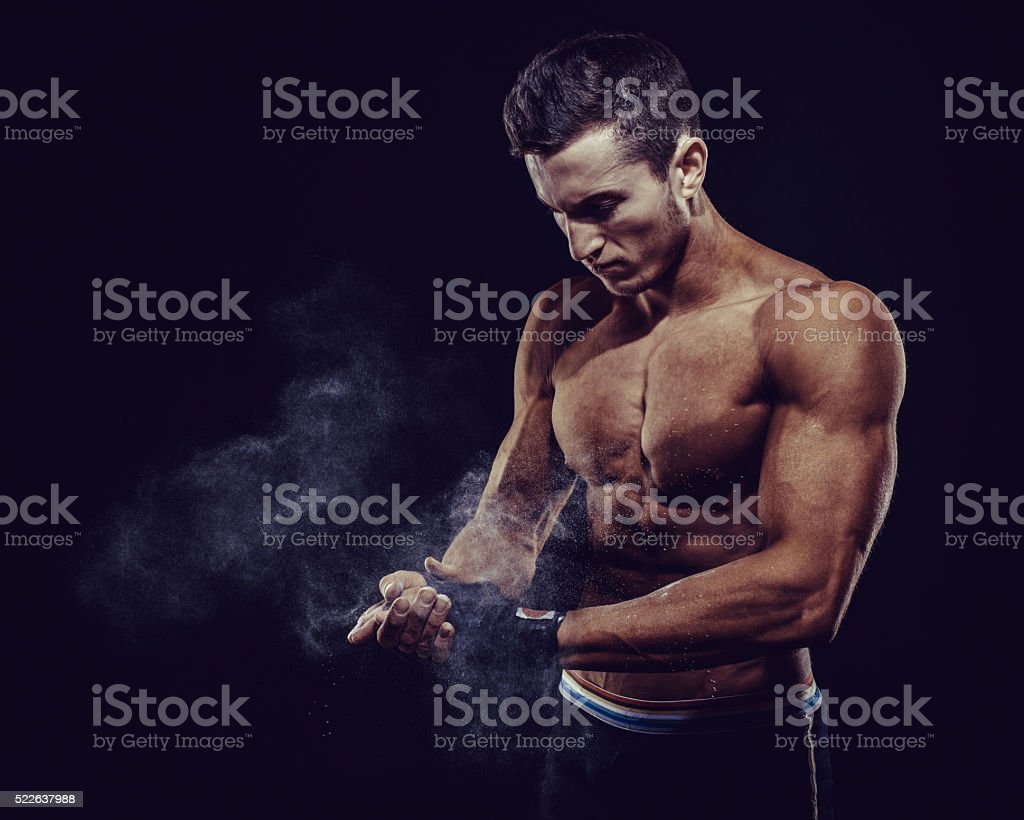 MMA Fighter Preparing Bandages For Training stock photo