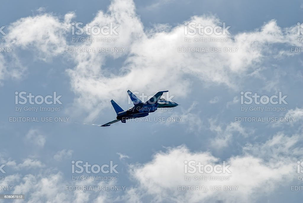 Fighter SU-27 at air show in Nizhniy Tagil, Russia stock photo