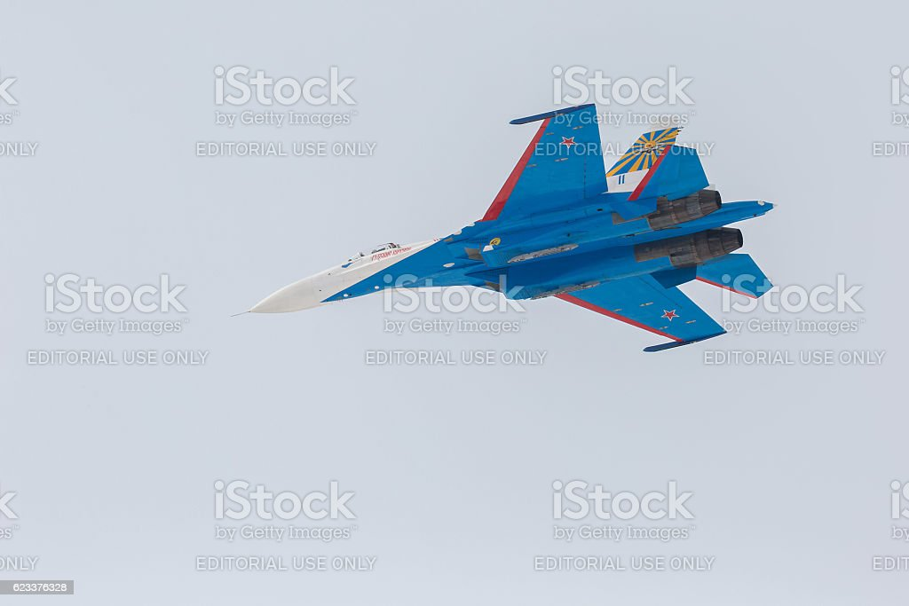 Fighter Sukhoi Su-27 in airshow Russian Knights. stock photo