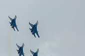 Fighter Sukhoi Su-27 show aerobatics at an airshow Russian