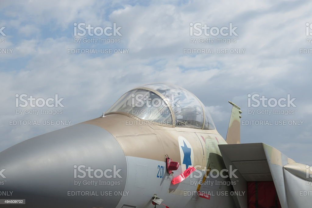 F-16 fighter with Israeli star painted on board stock photo