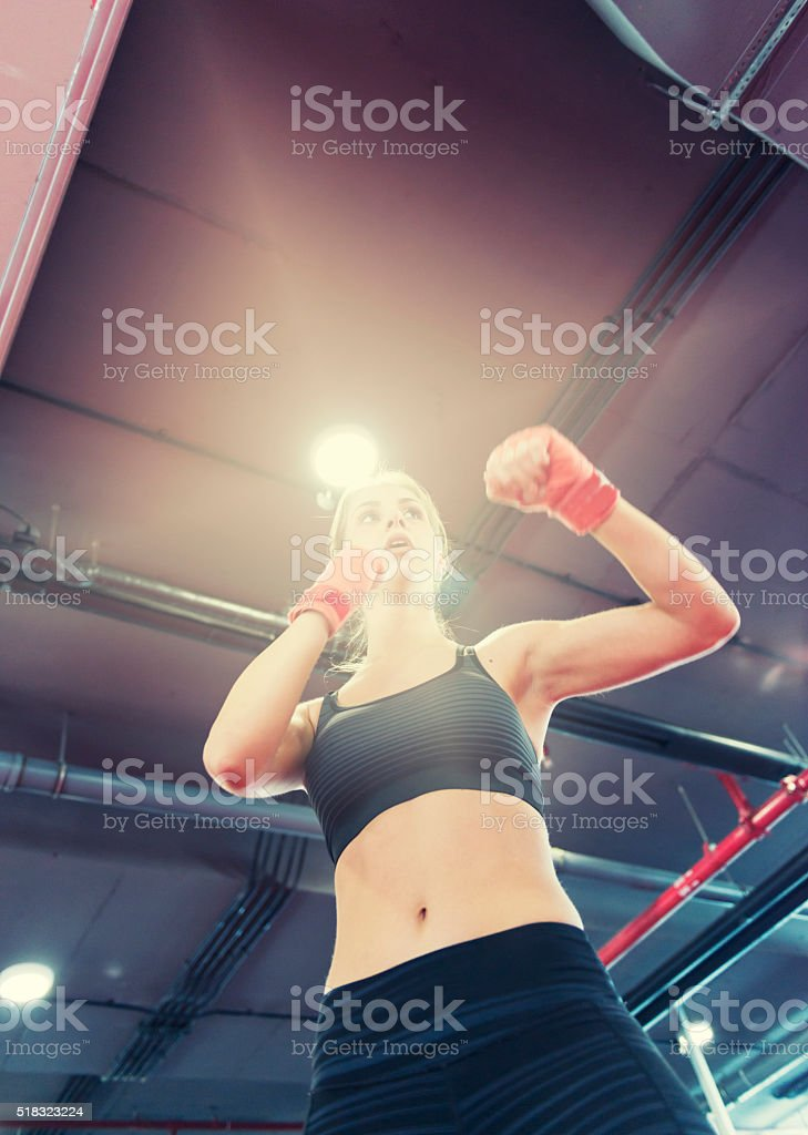Fighter woman stock photo