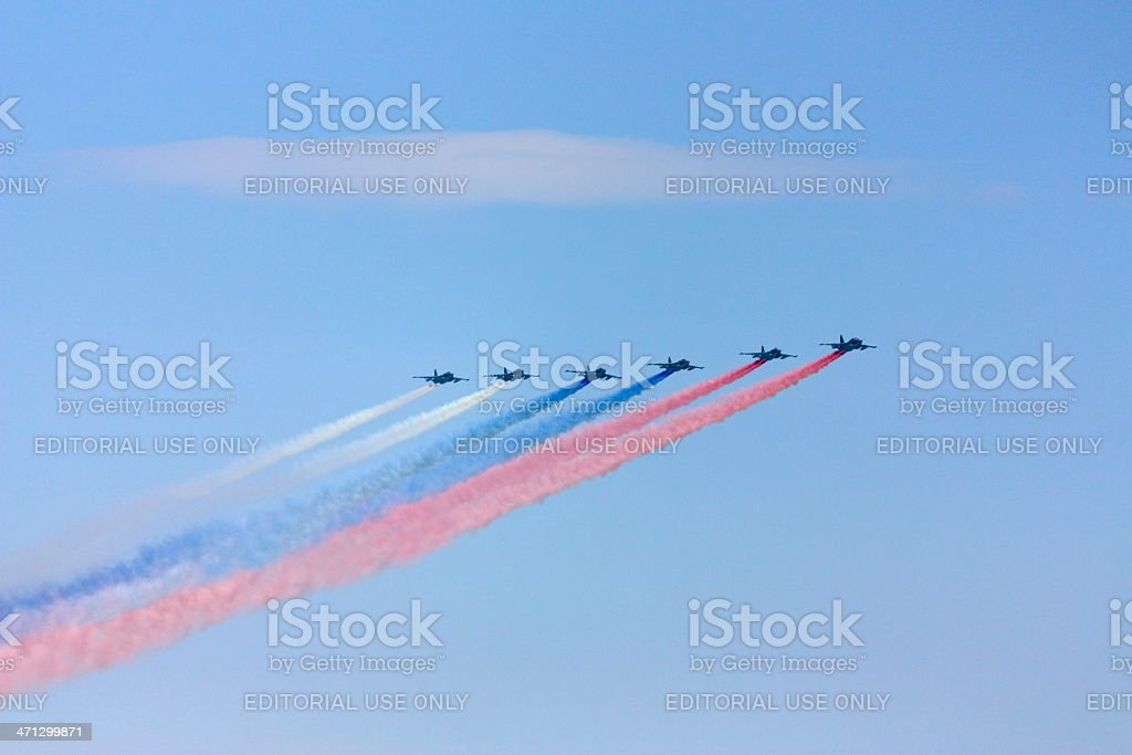 Fighters formation painting Russian flag in the sky royalty-free stock photo