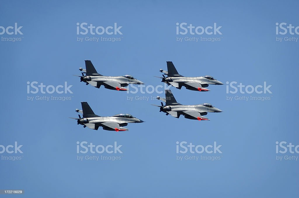 Fighters in formation royalty-free stock photo