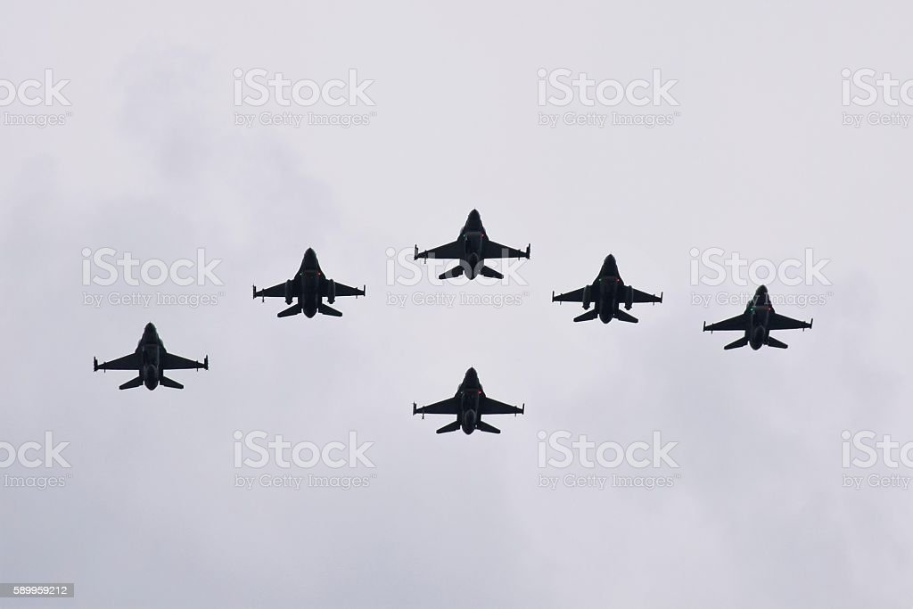 Fighters on the sky stock photo