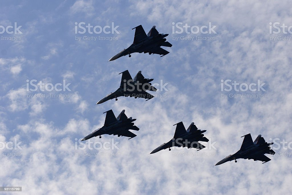 fighters silhouettes in the sky stock photo