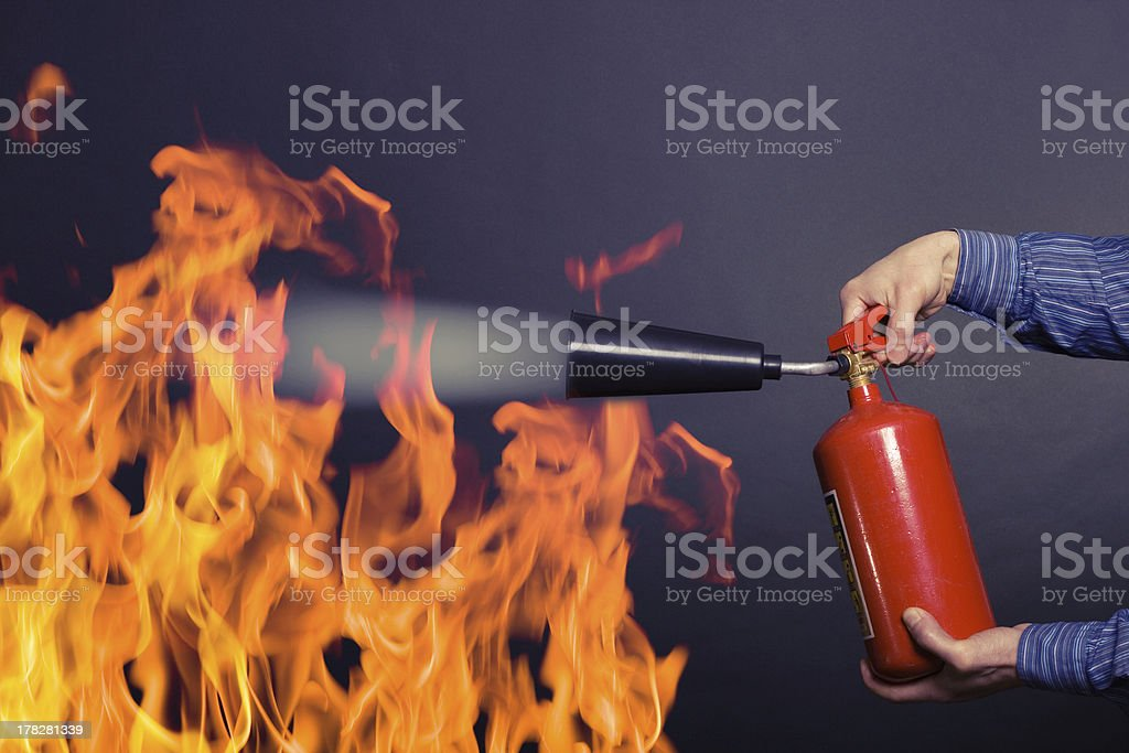 fighting a fire royalty-free stock photo