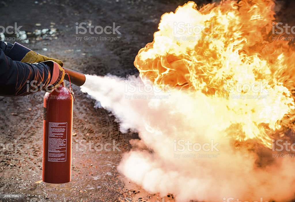 Fighting a fire stock photo