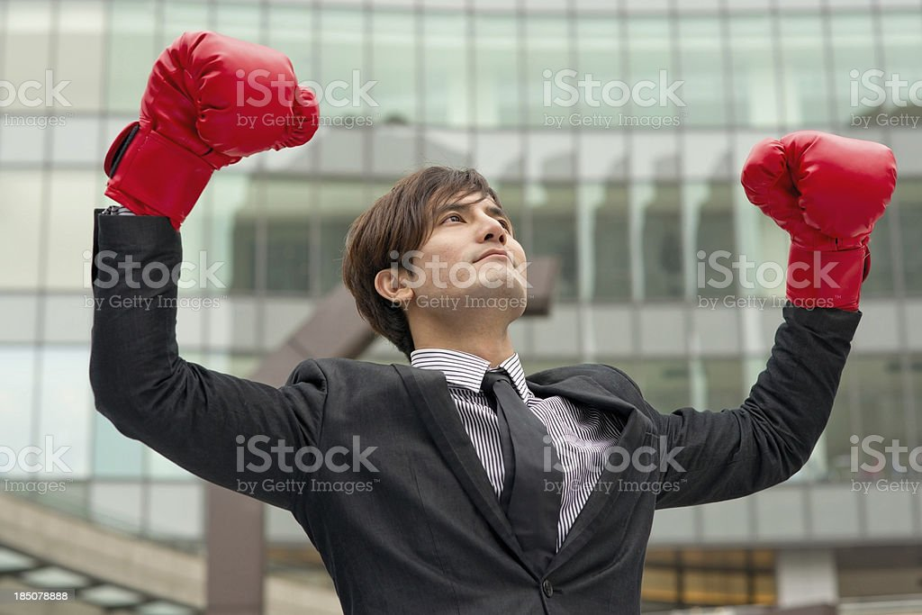 Fighting business man royalty-free stock photo