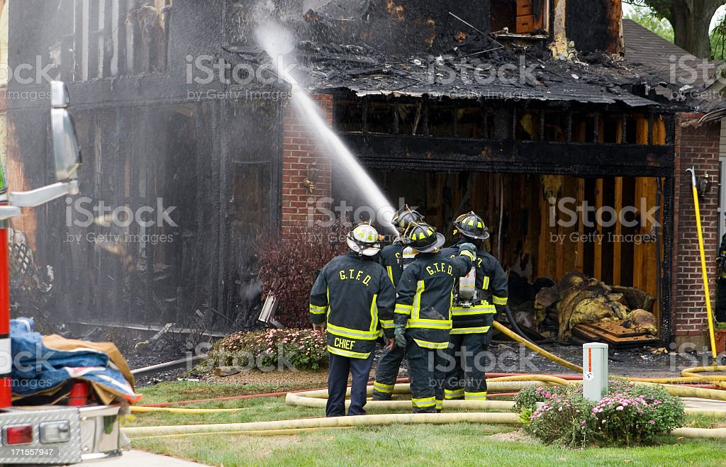 Fighting disaster stock photo