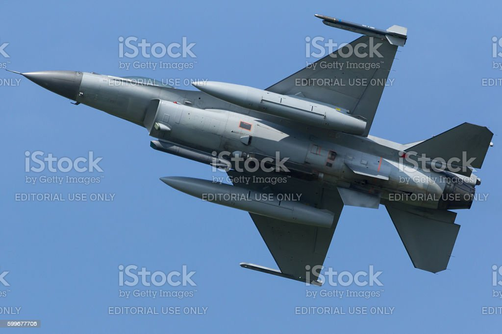 F-16 Fighting Falcon Taking off to Frisian Flag exercise stock photo