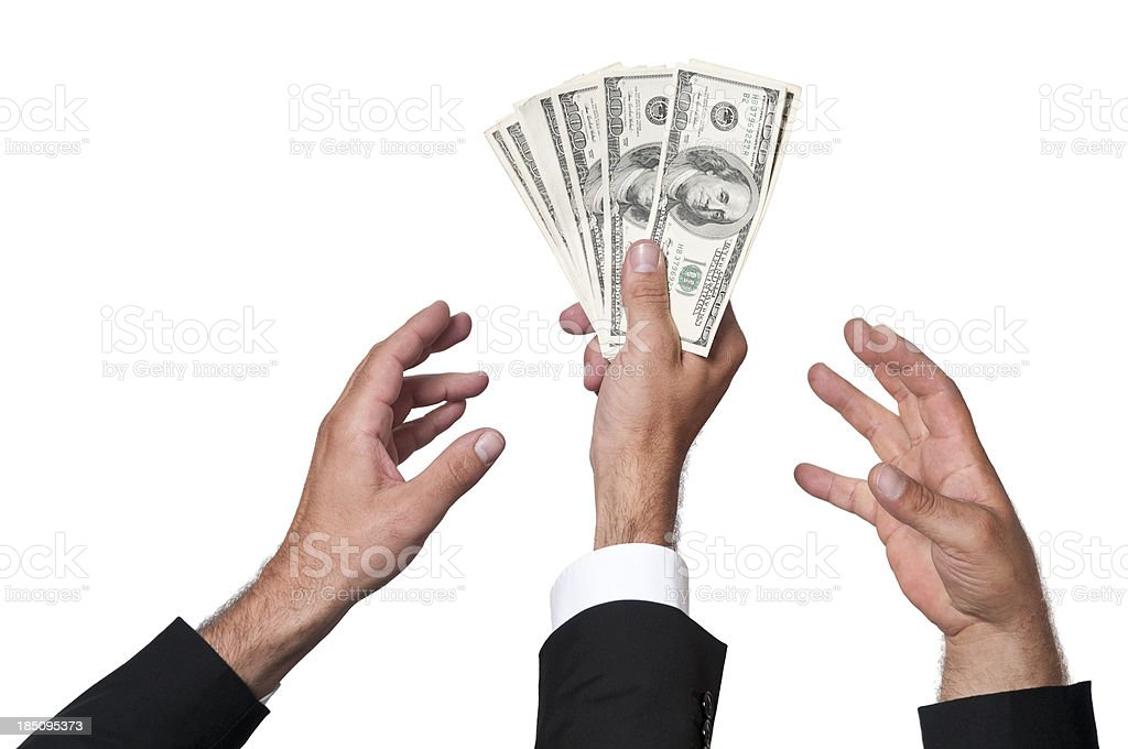 fighting for money stock photo