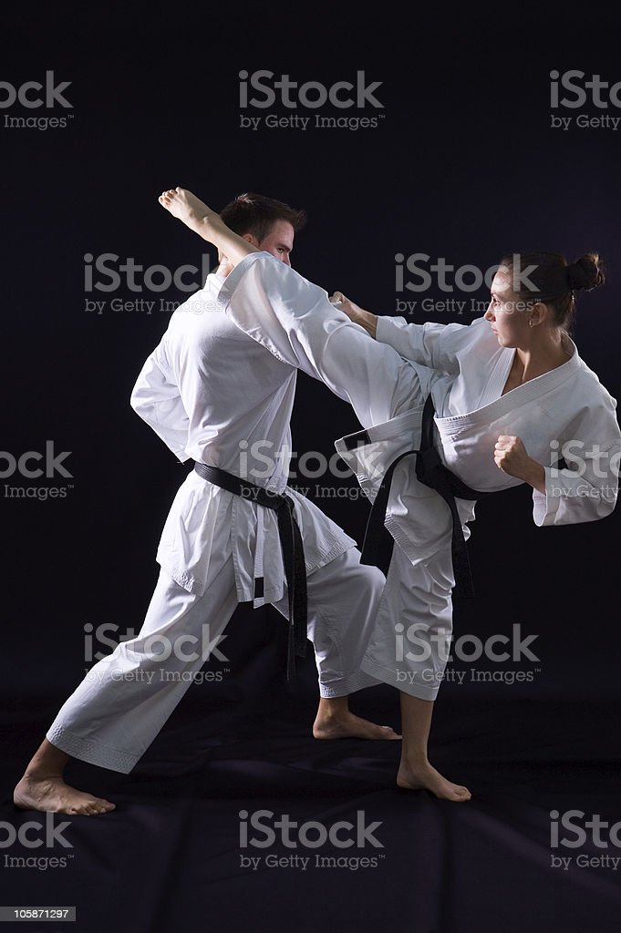 fighting karate couple royalty-free stock photo