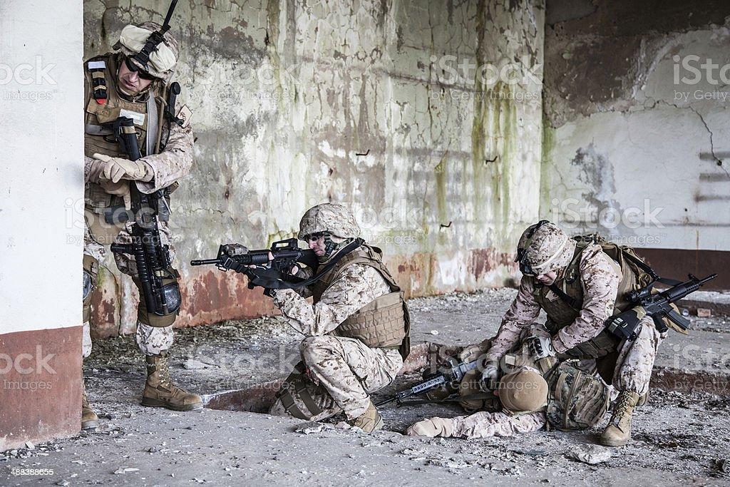 Fighting marines stock photo