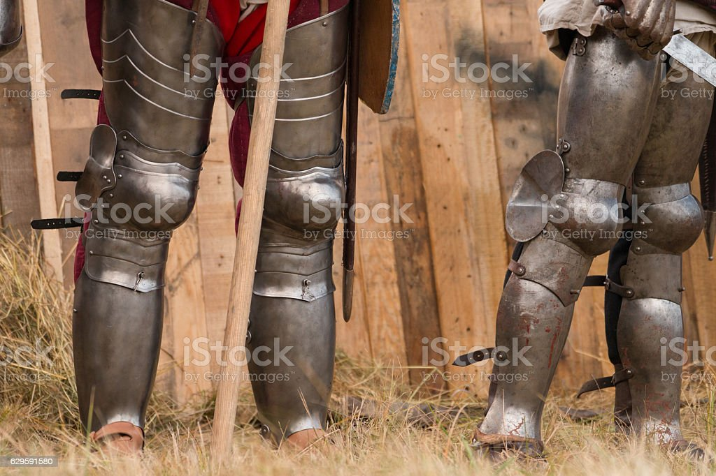Fighting medieval knights stock photo