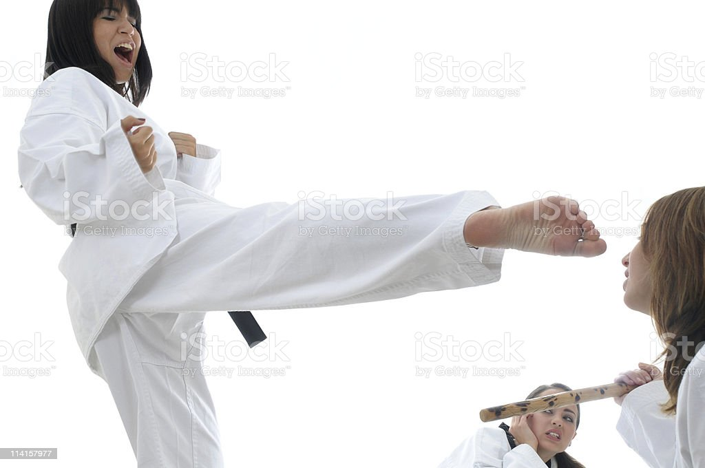 Fighting multiple opponents stock photo