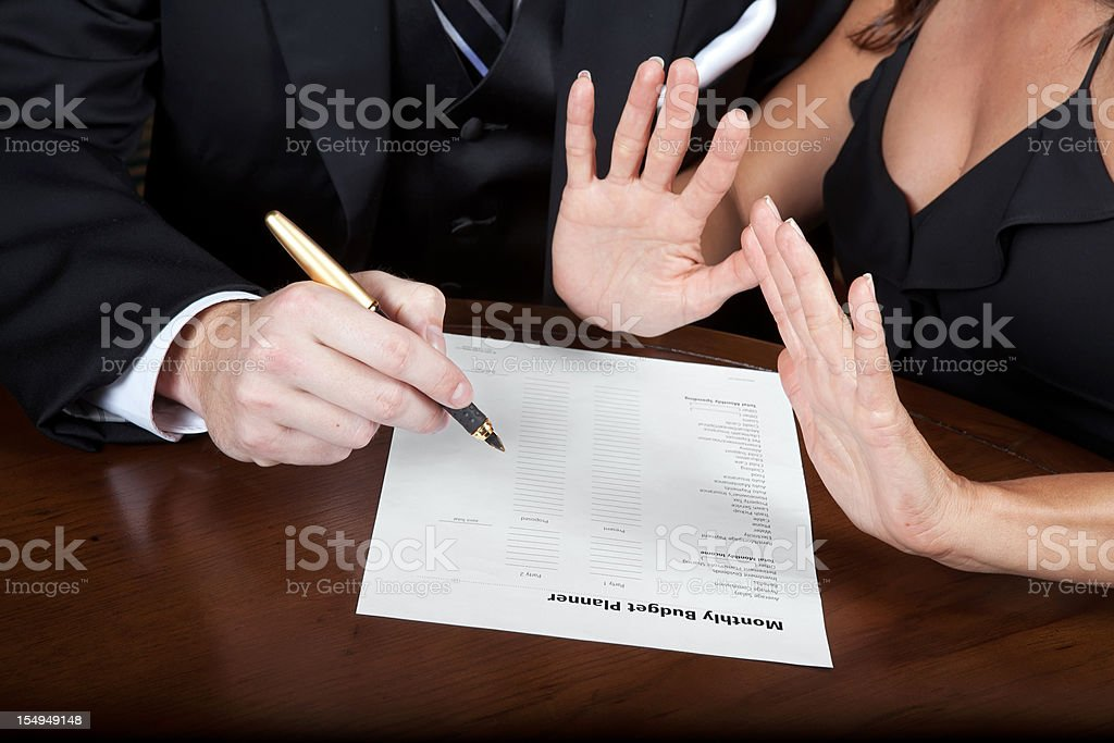 Fighting over a Monthly Budget agreement stock photo