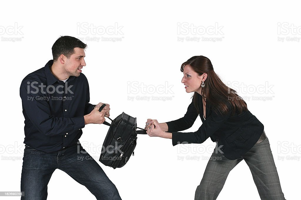 Fighting Over Leather Bag royalty-free stock photo
