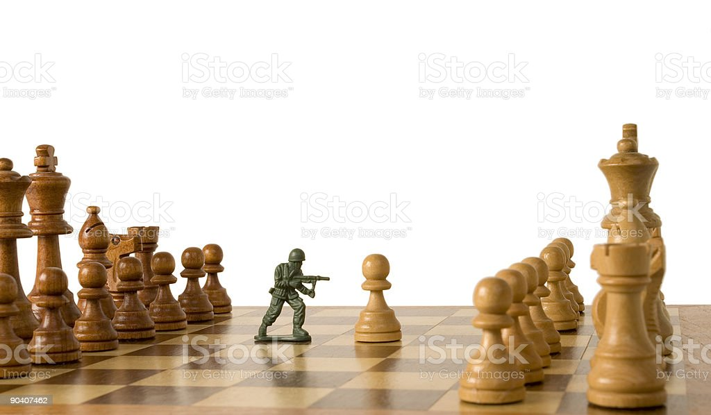 Fighting Pawns royalty-free stock photo