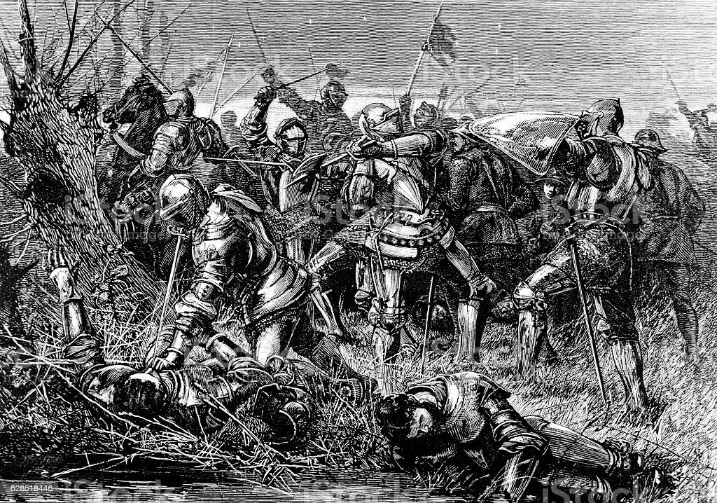 Fighting The Battle of Otterbourne, Scotland, 1388 stock photo