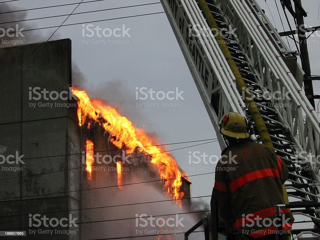 Fighting the fire royalty-free stock photo