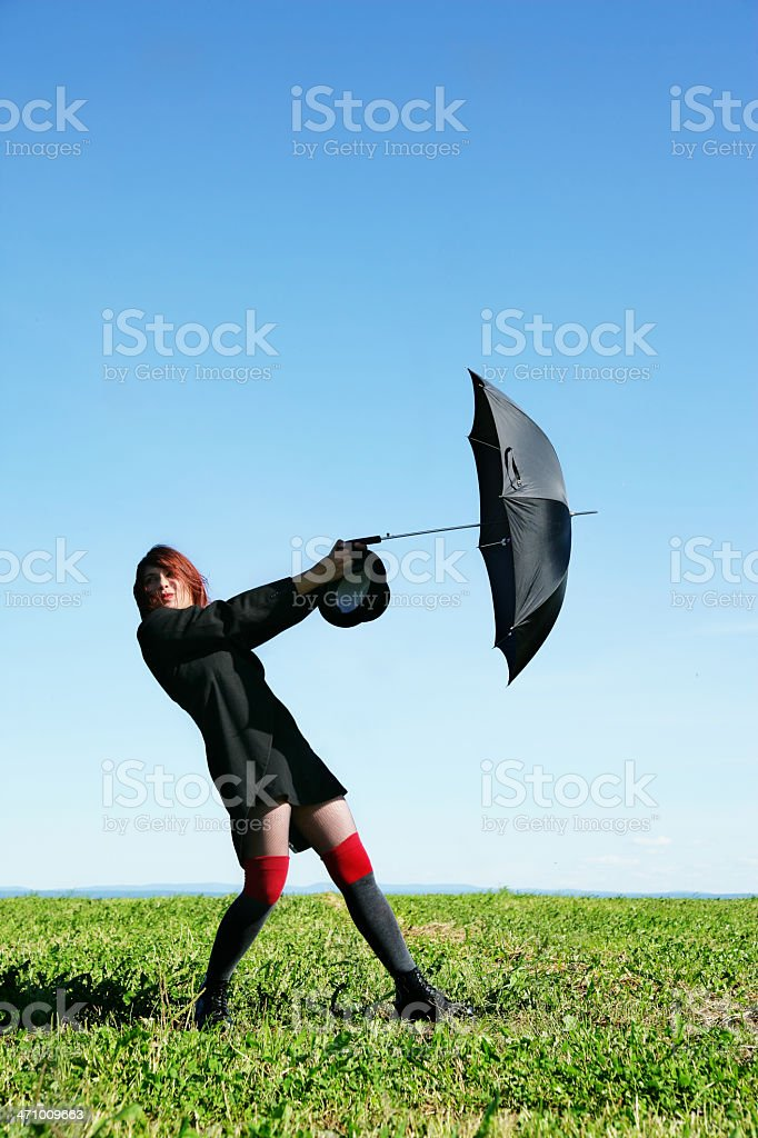Fighting the wind royalty-free stock photo