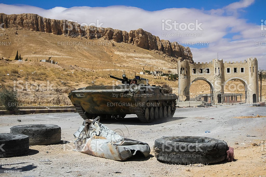 Fighting vehicle near the entrance to the Ma'loula stock photo