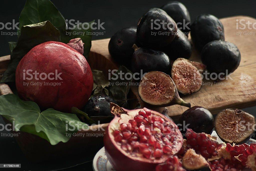figs and pomegranates stock photo