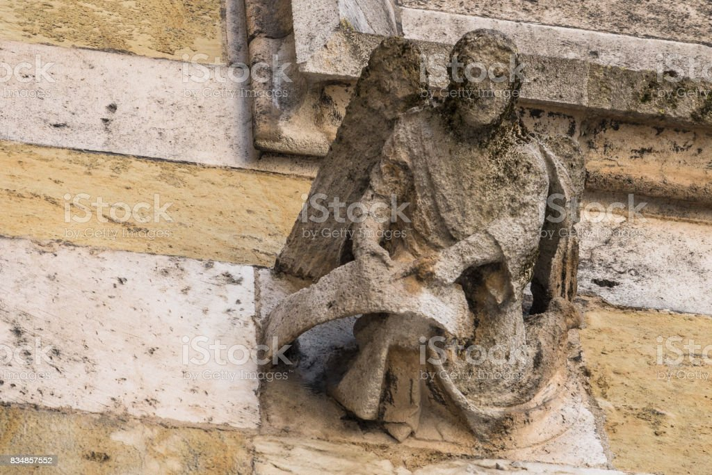 Figure at Dom St. Peter in Regensburg, Germany stock photo