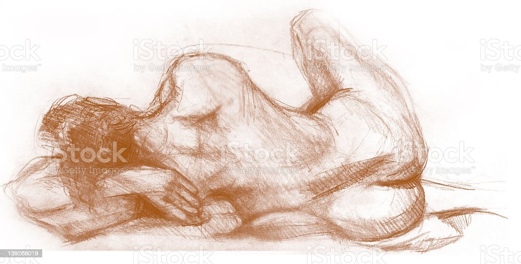 Figure Drawing of a Female Nude with Conte Crayon royalty-free stock photo