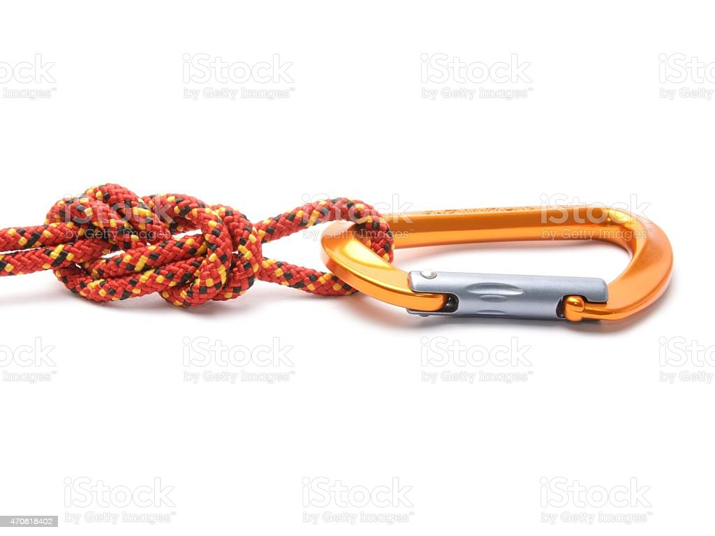 figure eight knot with carabiner isolated on white stock photo