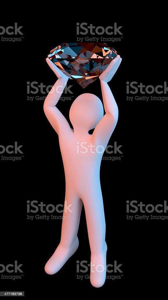Figure holding up a big Diamond stock photo