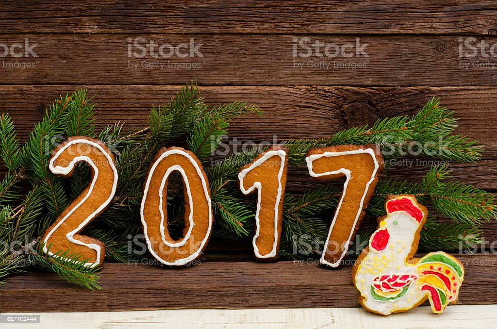 Figure in 2017 of gingerbread, New Year concept stock photo