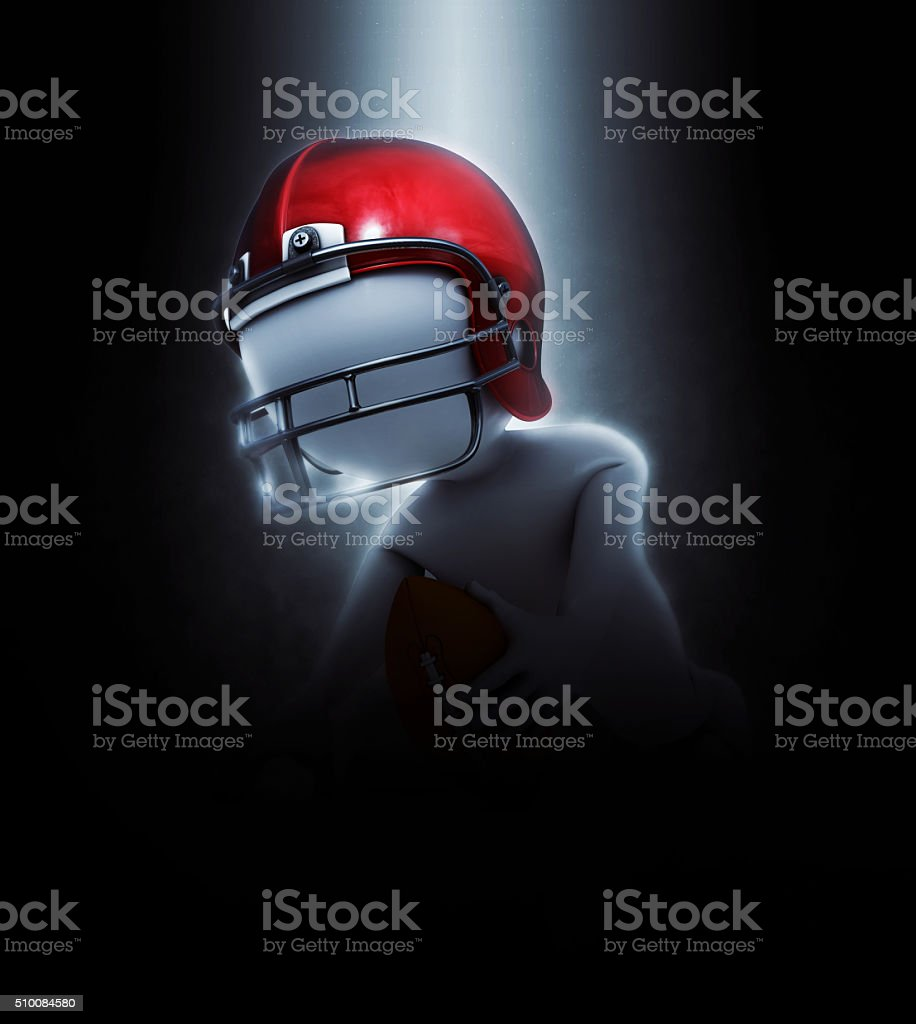 3D figure in dramatic American football image stock photo