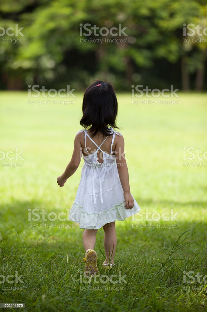 Figure of  little girl outdoors royalty-free stock photo