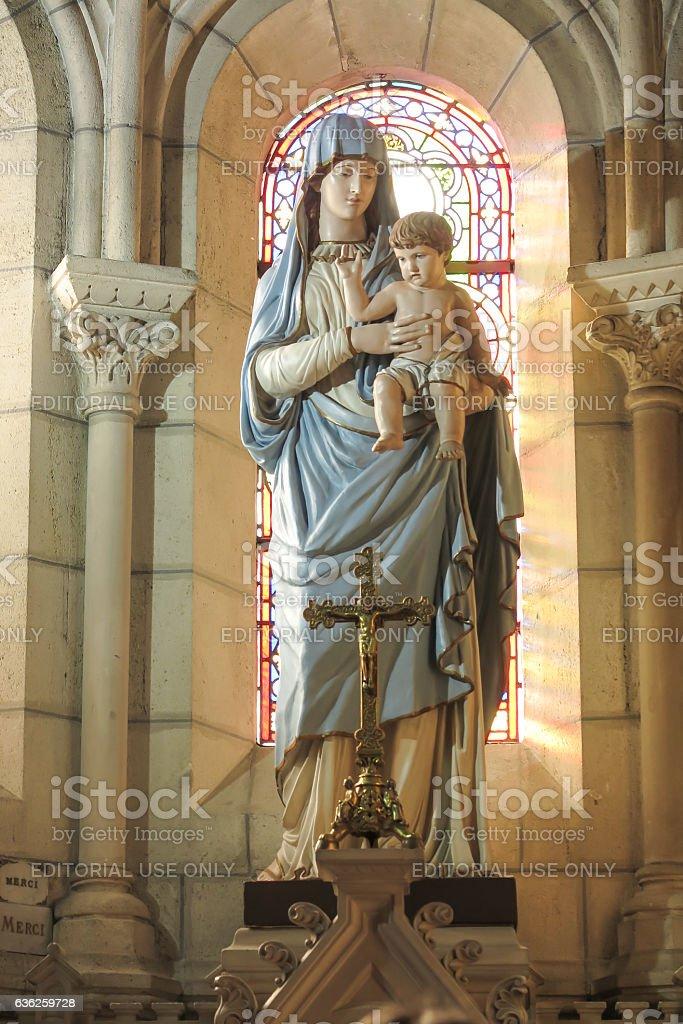 Figure of Mary in  Basilica of St. Louis de Montfort stock photo