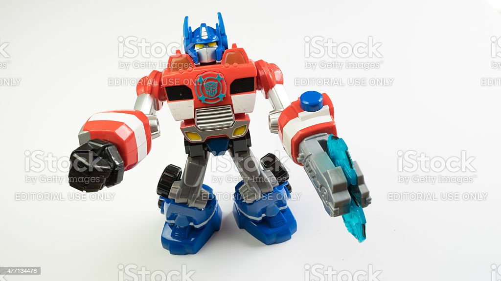 Figure of Optimus Prime from the Autobots Rescue Bots cartoon stock photo