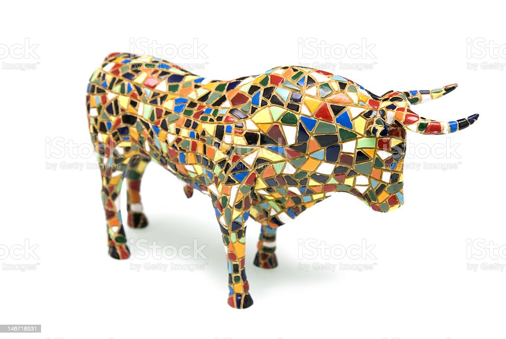 Figure of the bull from a mosaic royalty-free stock photo