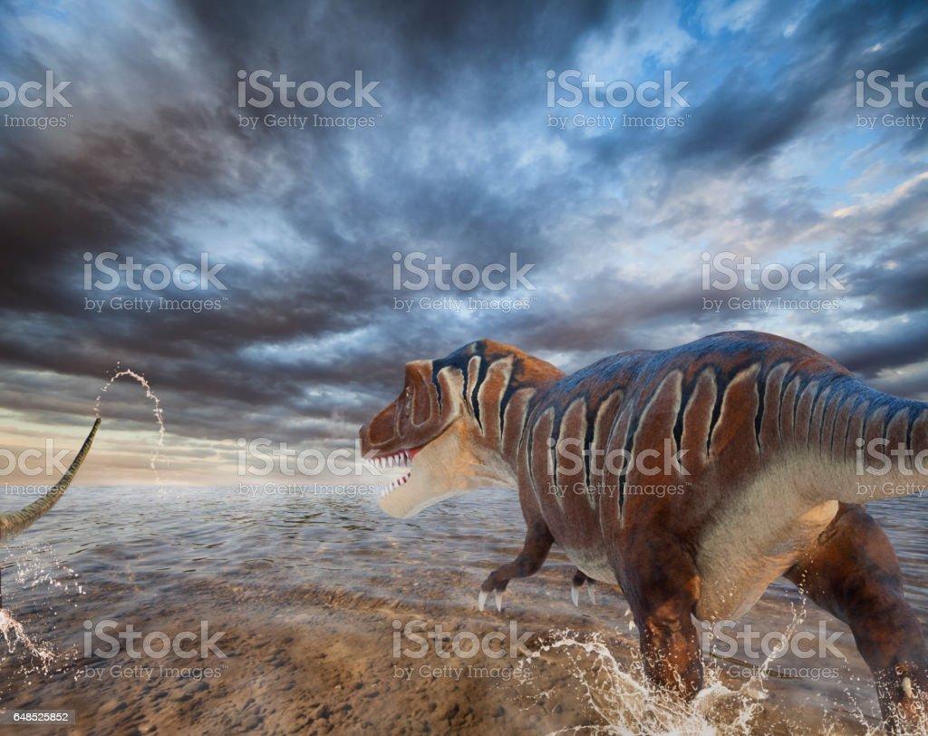 Figure of Tyrannosaurs stock photo