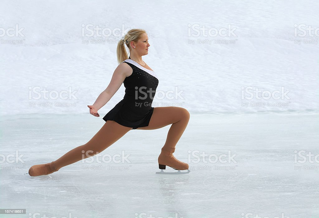 Figure skating on natural ice stock photo